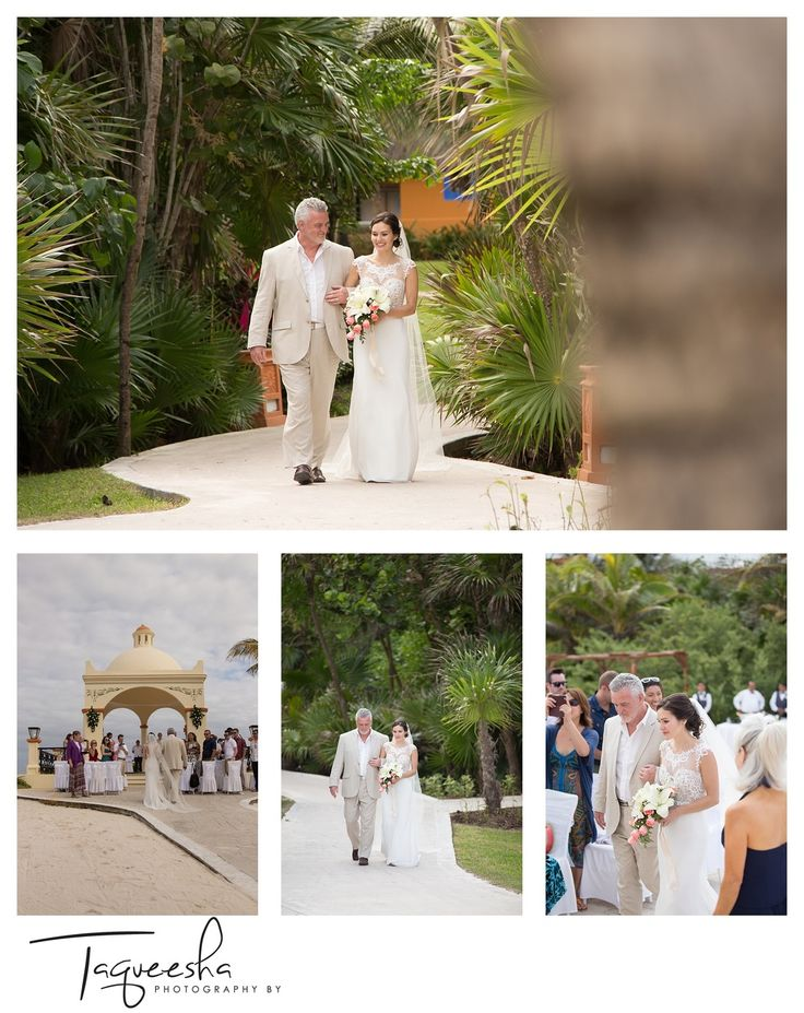 People wonder what the big deal is of having a second shooter at their wedding. I love working with and providing a second shooter, because while I am able to photograph the grooms first reaction to seeing his bride, my second shooter can photograph the bride walking down the aisle.  Reasons to have a second shooter.  Destination wedding at the Grand Bahai in the Riviera Maya.  Photograhy by Taqueesha