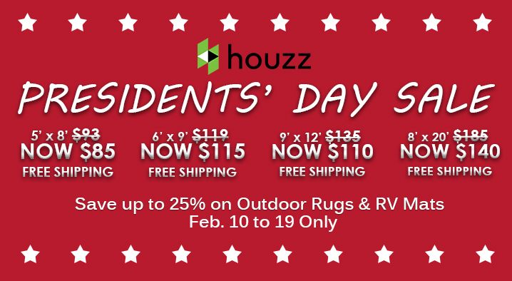 Don't miss this chance! Get your own Outdoor Rug and RV Mat with a 25% price cut at Houzz. Head on over to this link http://www.houzz.com/photos/rugs/seller--bbbegonia if you want to take advantage of this great offering from b.b.begonia! #PresidentsDaySale #bbbegonia #houzz