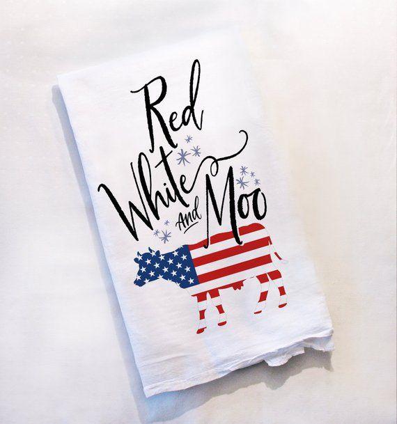 American Flag Cow Decor Farmhouse Decor Funny Kitchen Towel Dish Towel Patriotic USA Farm Flour Sack