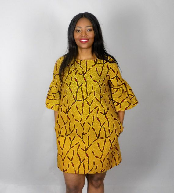 NEW IN :Yellow African print handmade shift dressAfrican