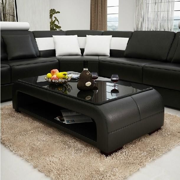 Moderna Black and White Bonded Leather Sectional Sofa