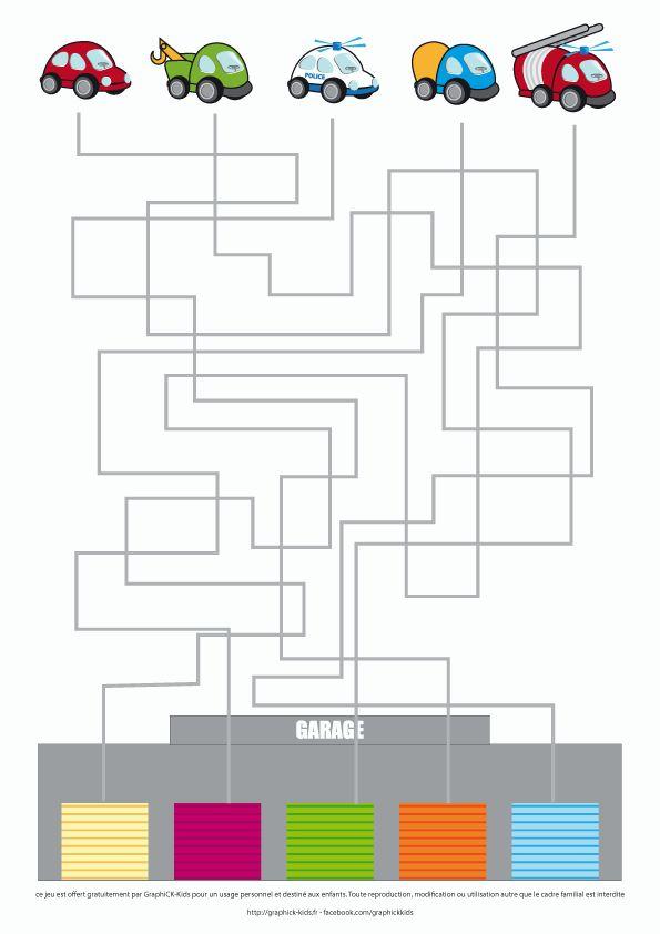 un jeu de labyrinthe où il faut ramener les véhicules à leur porte de garage