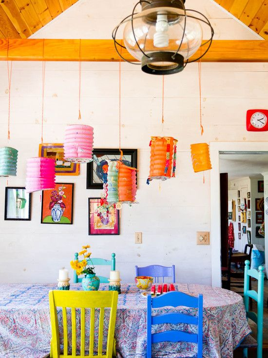 Colorful Paper Lanterns Create A Focal Centerpiece In This Eclectic Dining Room