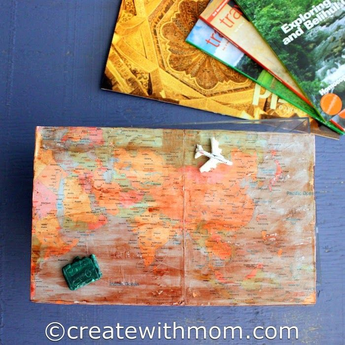 Create With Mom: Mod Podge Box To Keep Travel Finds