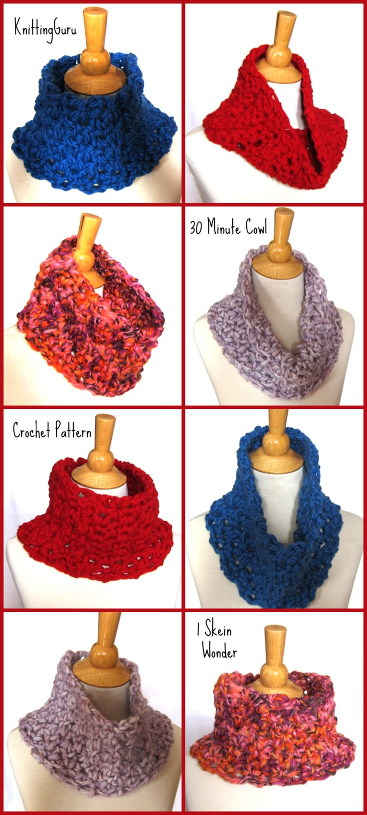 The 30 Minute Cowl is Fast and Easy to Crochet. Great beginner pattern! More info at http://www.craftsy.com/KnittingGuru and at http://www.KnittingGuru.etsy.com.