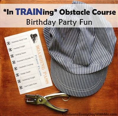 """""""In TRAINing"""" Obstacle Course - great fun for a train-themed birthday party"""
