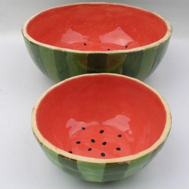 Schüsseln aus Keramik, Wassermelone, Sommer, Wohndeko, Sommer / summerly ceramic bowls, watermelon, home decor made by dekornia via DaWanda.com