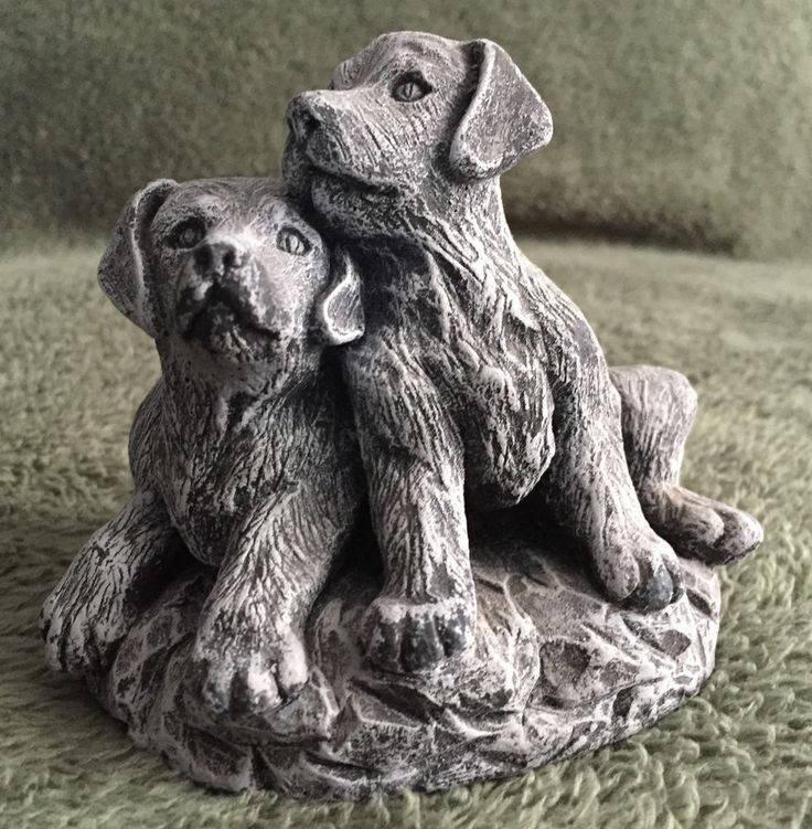 Two Puppies Figurine Made From Mt St Helens Ash Washington State Travel Souvenir
