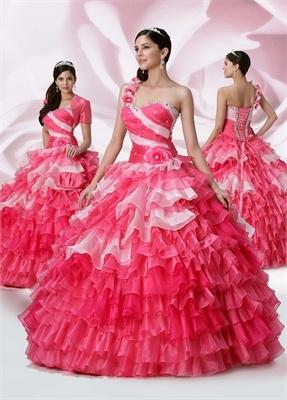 Ball Gown one-shoulder Sweetheart Neckline Floor-length with Ruffles Organza quniceanera dress QD092