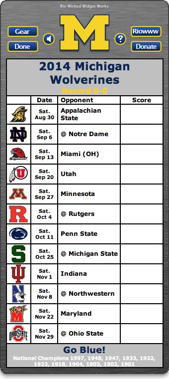 BACK OF WIDGET - Free 2014 Michigan Wolverines Football Schedule Widget for Mac OS X - Go Blue! - National Champions 1997, 1948, 1947, 1933, 1932, 1923, 1918, 1904, 1903, 1902, 1901    http://riowww.com/teamPages/Michigan_Wolverines.htm