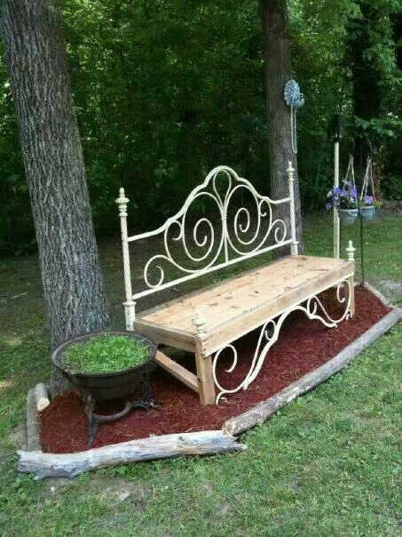 Garden Yard Bench made of reclaimed lumber and bed frame saved from land fill.