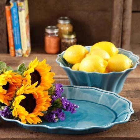 """The Pioneer Woman Paige 2-Piece Serving Set is designed exclusively to match the Pioneer Woman dinnerware. Named after Ree Drummond's daughter Paige, it is """"pretty and polished with lots of personality."""" Serving bowl and platter Material: stoneware Dishwasher safe"""