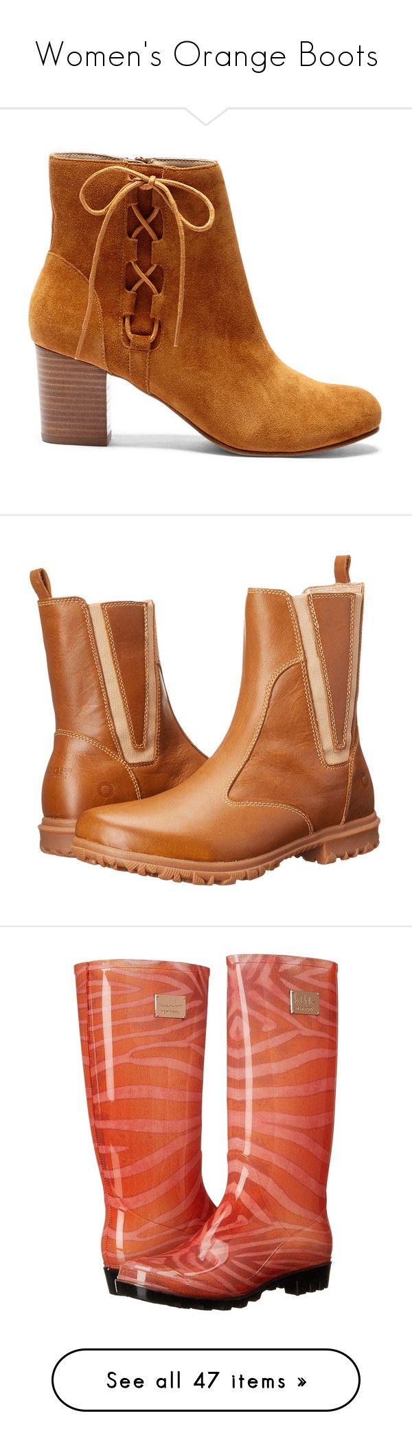 """""""Women's Orange Boots"""" by eternalfeatherfilm on Polyvore featuring shoes, boots, orange, wellies boots, wellies rubber boots, knee high rubber boots, orange boots, rubber rain boots, ankle booties and chestnut"""