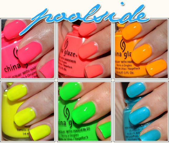 WANT!Polka Dots, Poolside Collection, China Glaze, Flip Flops, Chinaglaze, Neon Nails, Pools Parties, Summer Colors, Glaze Poolside