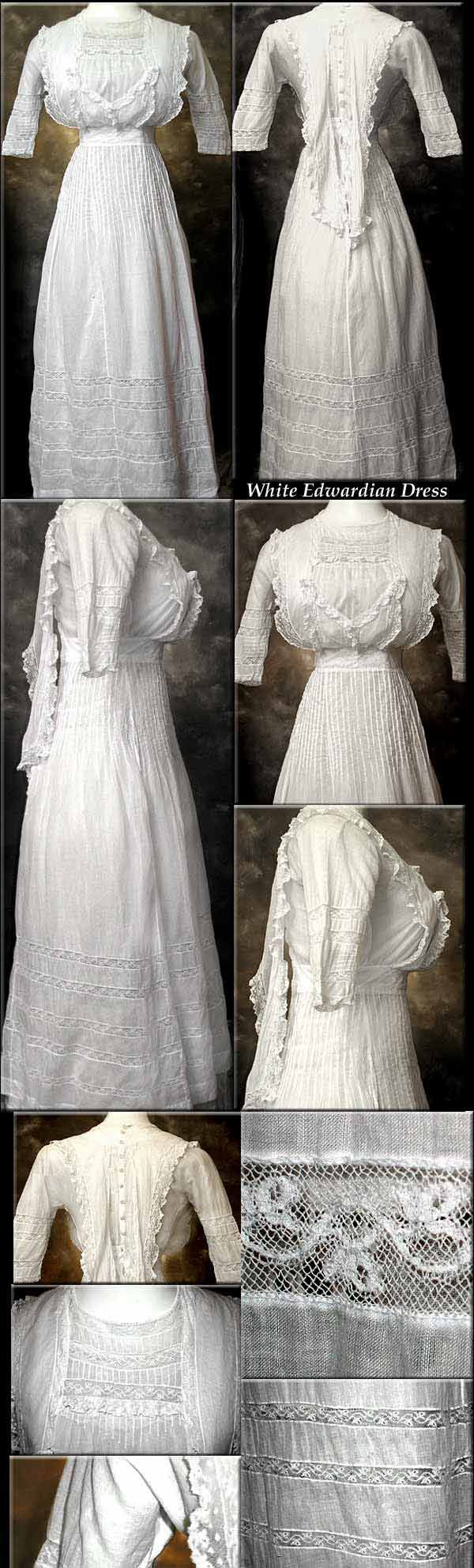 Batiste and lace summer dress with Valenciennes lace, 1906. Unlined. Bustledress.com via Neverlight.