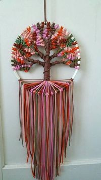 Autumn Tree of Life  9 inches/23 cm diameter Dreamcatcher Boho Bedroom Decor Macrame Hoop Art Ready