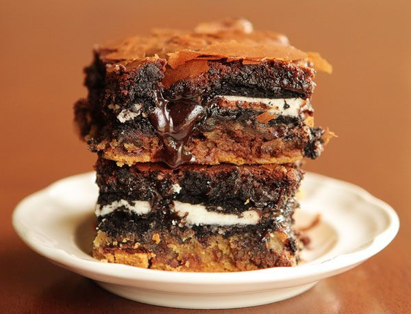 Layers of happiness...chocolate chip cookie dough layer, double stuf Oreo layer, brownie layer...what's not to love??  I've made these 7 or 8 times in the last 2 months. Everyone goes crazy over them!!