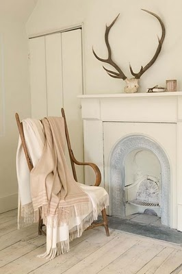 Loving the Antlers in the white room! We have ours mounted but I love the casual way these are just placed. pssst, make great hand stand too!  We have a set or two in stock at Puce and Co.