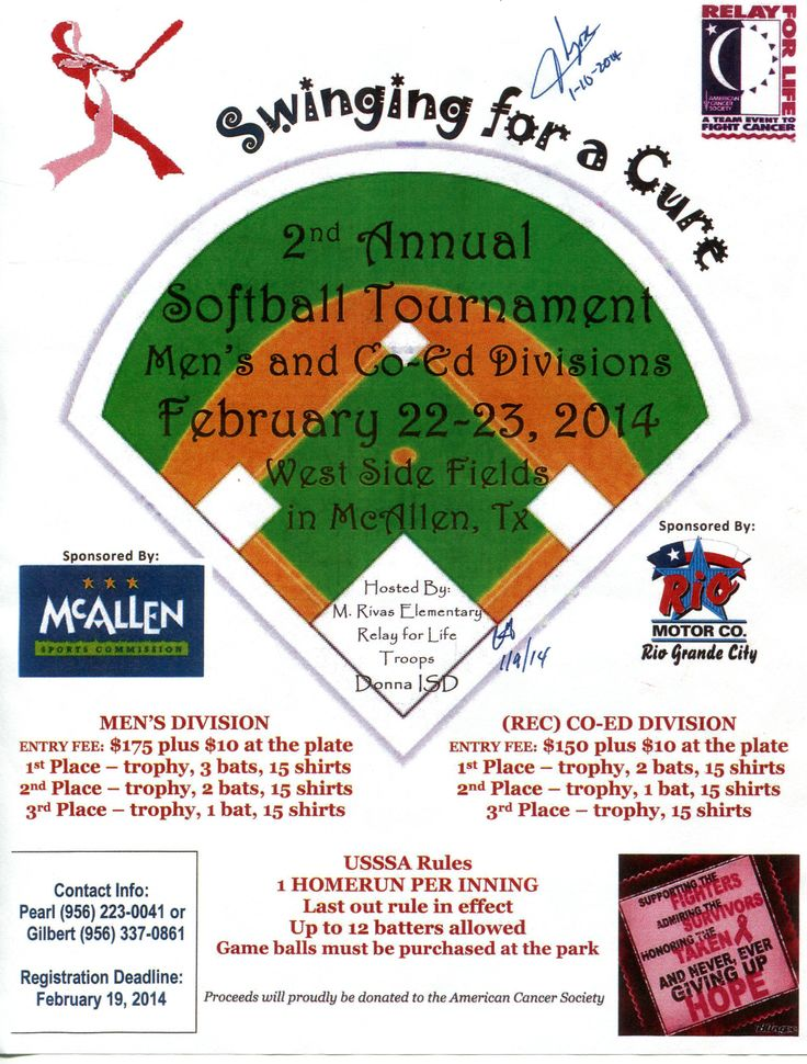 rfl fundraising poster, baseball softball tourney Relay for Life - fundraising flyer
