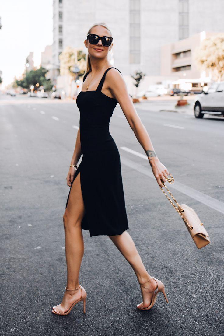 Blonde Woman Wearing Reformation Black Dress Tan Ankle Strap Heeled Sandals Chanel Tan Diana Handbag Fashion Jack Fashion Jackson Fashion Clothes Women Fashion [ 1104 x 736 Pixel ]