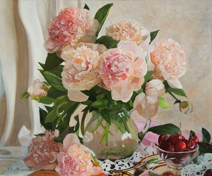 Różowe Peonie, Pink Peonies obraz olejny Tomasz Mrowiński