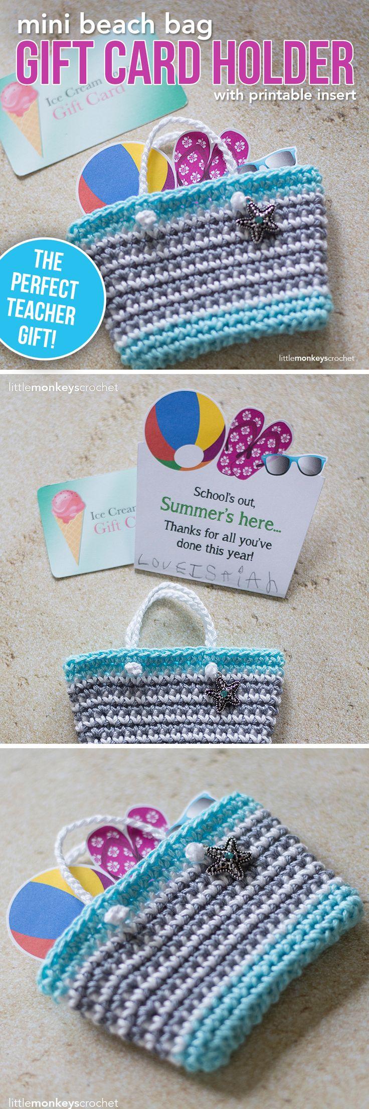 Mini Beach Bag Gift Card Holder Crochet Pattern | Little Monkeys Crochet | teacher gift | end of the school year | teacher crochet gift | 24/7 cotton yarn