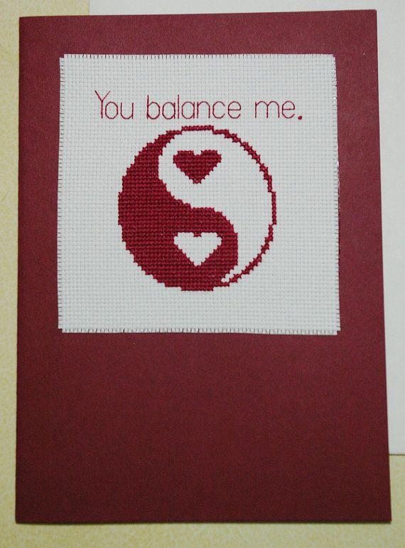 You Balance Me Greeting Card Cross Stitch by BlueTopazStitchery, $8.50