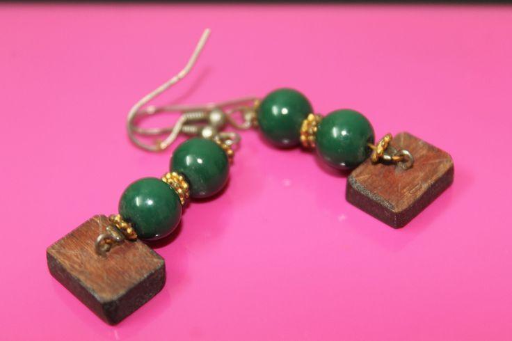 Earrings Wood & Beads
