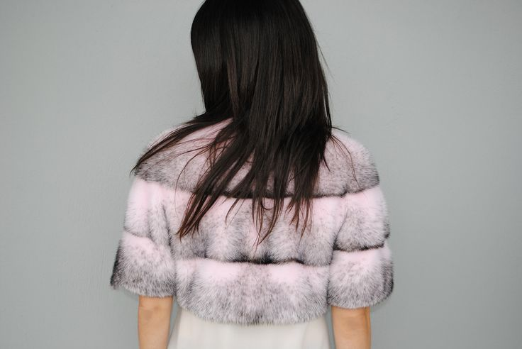 Trend alert! What do you think of this pink & grey mink fur small jacket?