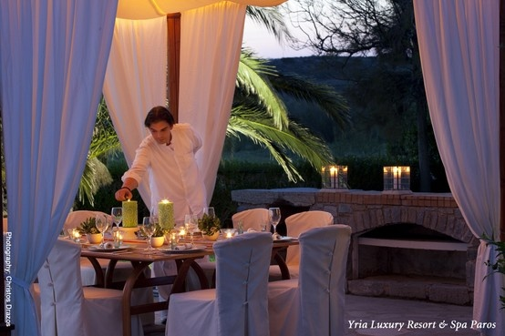 All is set for a romantic candlelight dinner at the Yria Luxury Resort & Spa