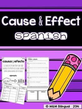 A unit of engaging activities for students to review cause and effect in SPANISH! Students will match the effects with the appropriate cause, complete sentences with possible effects, distinguish between causes and effects in sentences, and apply the strategy to their independent reading with a graphic organizer.