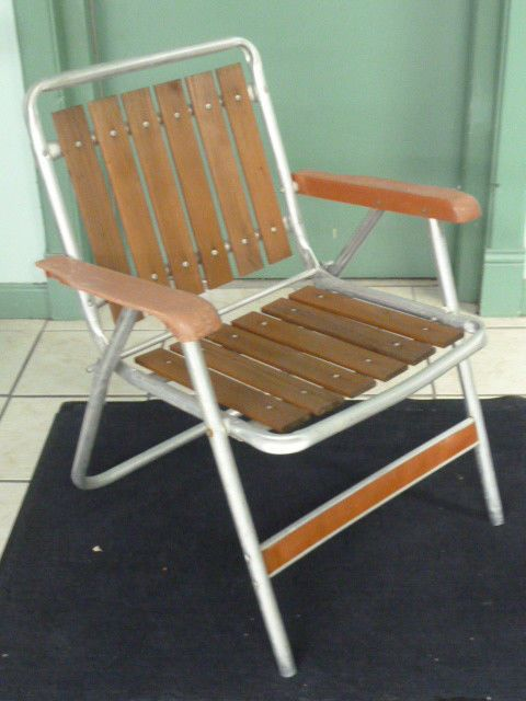 Vintage Aluminum Folding Lawn Chair Teak Wood Slats One