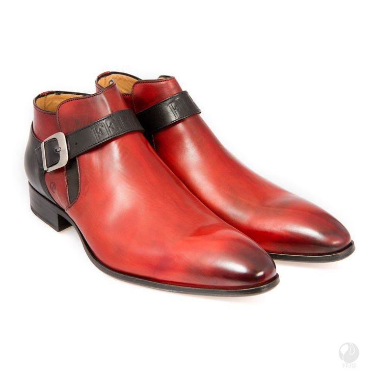 FERI - Celio - Boot - Red/Black - Mens genuine leather single strap boot - Real cow hide leather upper - Genuine leather sole - Custom sole imprint with FERI design - Hand brushed leather creates unique look - Colour: Red/Black - Heel height: 0.98 inches - Hardware plate: 0.79 inches x 0.28 inches  Invest with confidence in FERI Designer Lines.   Claim your Free $100 Gift check    http://www.gwtcorp.com/ghem or  email  fashionforghem.com for big discount
