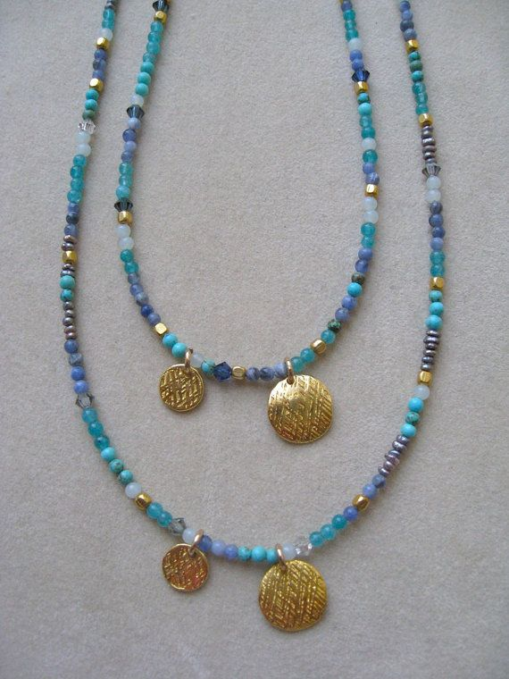 Mixed Gemstone Necklace  Petit Blue necklace by Sylviajewelry, $54.00