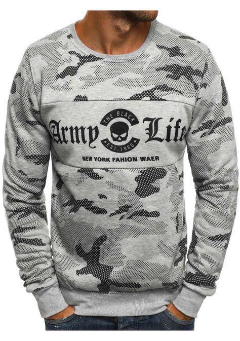Herren Sweatshirt Grau – J.Style DD03 - ohne Kapuze - OZONEE