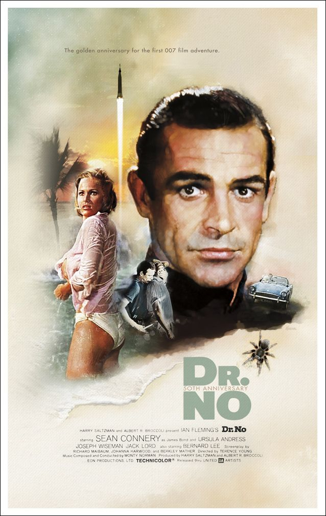 On October 5, 1962, cinema was changed forever with the start of the best movie franchise in history. Today in 2012, marks the 50th anniversary of the release of the first James Bond movie, Dr. No! :: Artwork by Jeffrey Marshall
