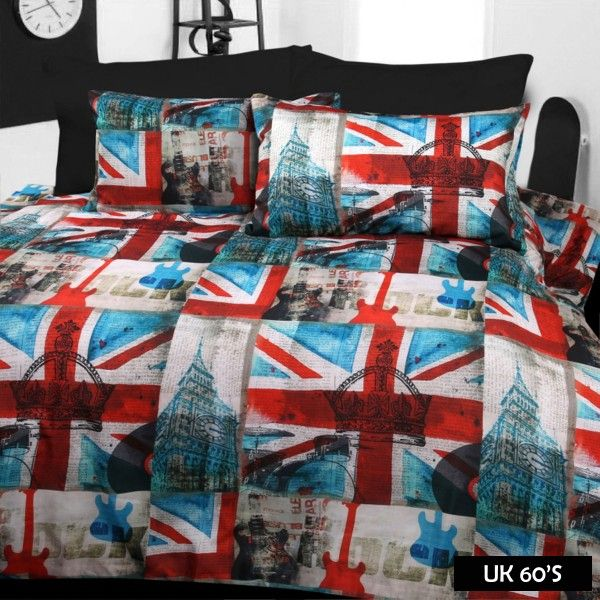 UK 60's Quilt Cover set features popular designs made from soft feel microfibre fabric in 180 thread count.