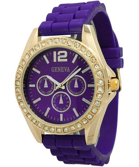 Ladies Geneva Chronograph Style Silicone Watch - Purple/Gold