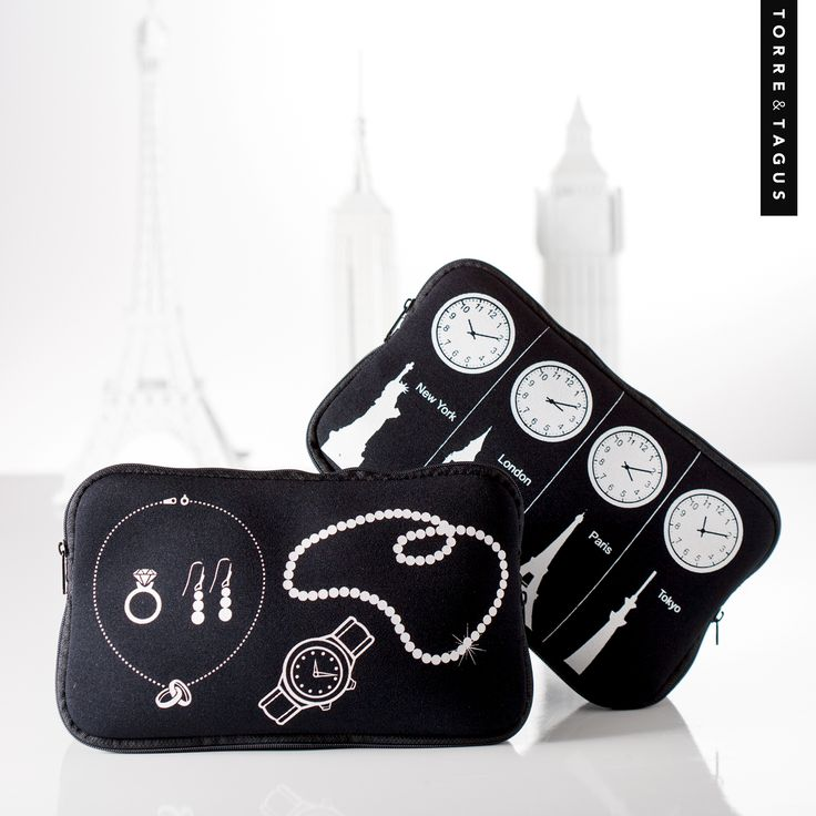 Travel in style with our Glam and Time Zone  Neoprene Travel Cases. #TorreAndTagus #Travel  #TravelCase www.torretagus.com