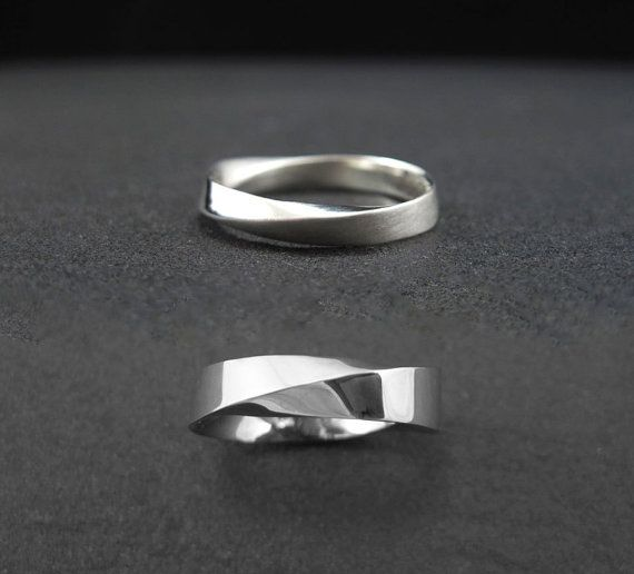 Mobius wedding band set His And Hers Wedding rings set by Benati