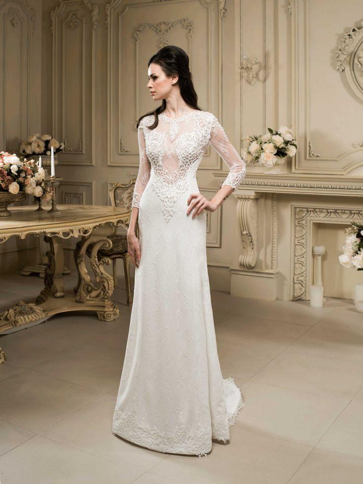 Luxusné svadobné šaty zdobené čipkou s rukávmi
