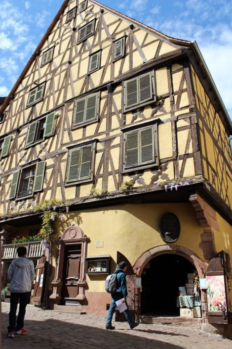 25 mètres de haut et 5 étages : cette demeure est l'une des plus hautes maisons à colombage d'Alsace, d'où son surnom de gratte-ciel. Il s'agit en réalité de deux bâtiments distincts de 1561, réunis sous un même pignon. Impossible de le rater, mais au cas où, il se trouve au 14 rue Général de Gaulle (Riquewihr).
