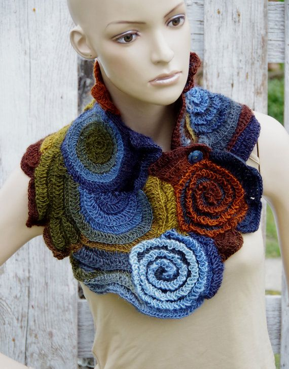 Crochet Scarf Neck Warmer Brown Green blue navy blue Freeform crochet Roses Capelet  Chunky Knit  Freeform Crochet  gift Womens