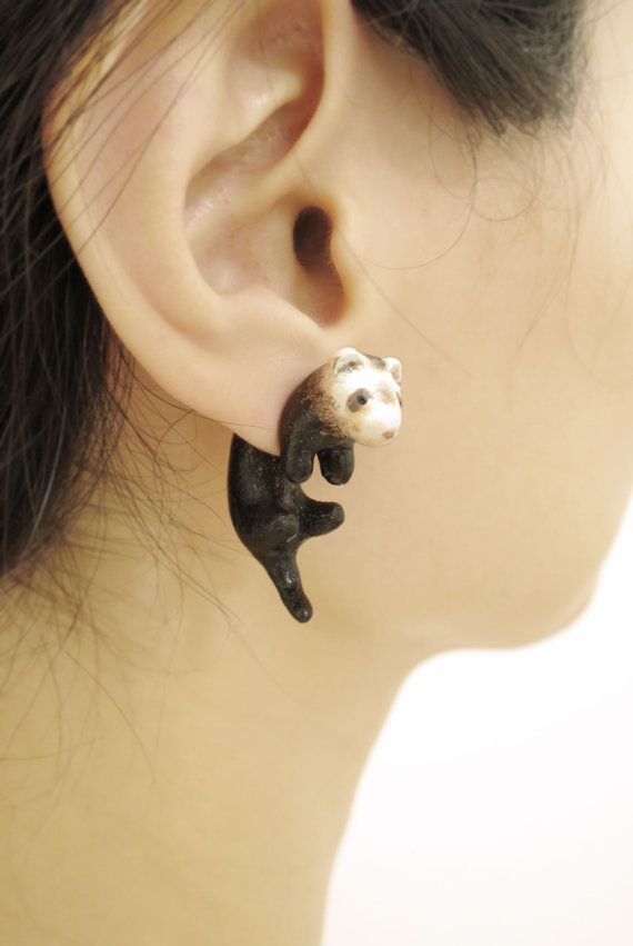 Cute Ferret Two Part Earrings Fake Gauges Gift For Pet Lover