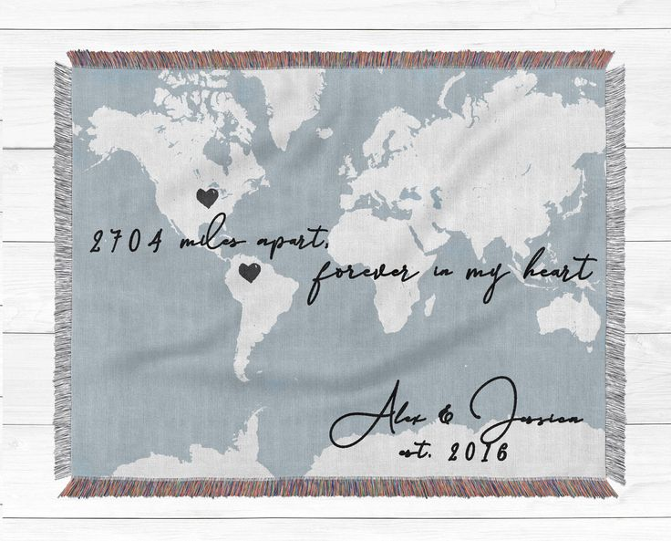 Long distance relationship gift World map throw blanket Gift for boyfriend Going away present Mothers Day gift 100% cotton blanket