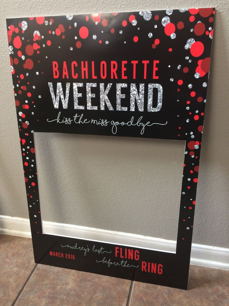 Bachelorette weekend photo frame prop by Inphinity Designs. Yes I make them for local pick up in San Antonio Tx for $45, but You can purchase the custom digital file (if you are not local) from me for $20 and have it printed, mounted and cut at a copy center like Office Depot, Staples, etc. Please visit my FB page Inphinity Designs at https://m.facebook.com/profile.php?id=71791500352&refsrc=https%3A%2F%2Fwww.facebook.com%2Fpages%2FInphinity-Designs%2F71791500352