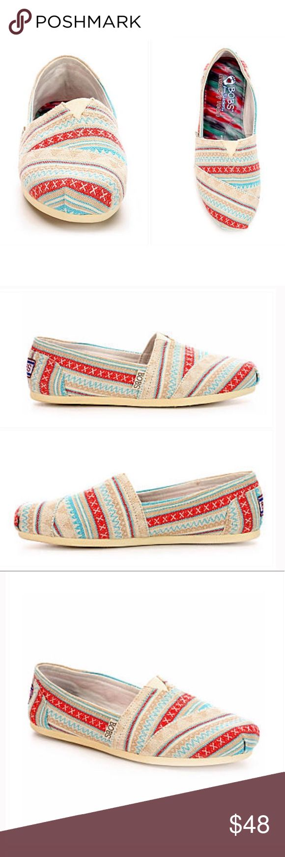 Skechers Bobs Slip-On Shoe Skechers Bobs Slip-On Shoe  New in box.  Boho and super soft, these slip-on shoes from Skechers deliver both comfort and style all in one. A textured fabric upper features a printed design with pleated toe and Memory Foam cushioned insole. It includes a shock absorbing midsole and flexible rubber outsole for a steady step. Fabric upper Printed and textured Toe pleat detail Memory Foam cushioned insole Shock absorbing midsole Flexible rubber traction outsole 🌼…