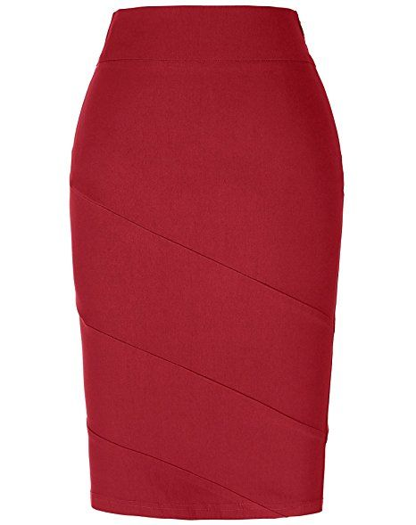 ea7dc4e334 Kate Kasin Women's Stretchy Cotton Pencil Skirt Slim Fit Business Skirt [ Amazon.com]
