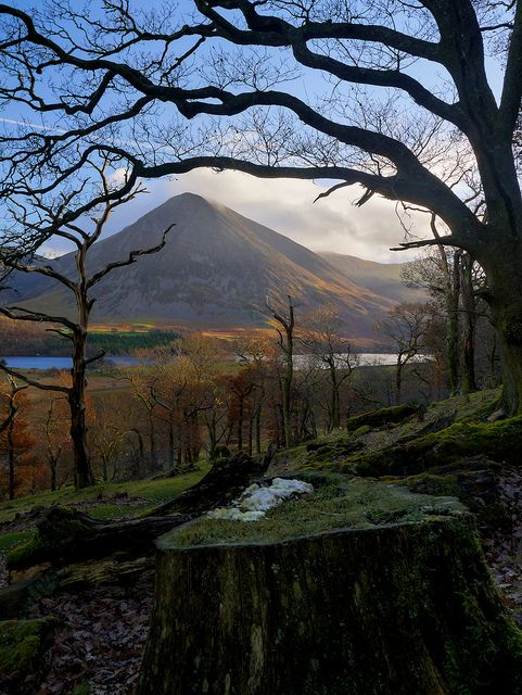 Morning sun on Grasmoor, the Lake District, UK