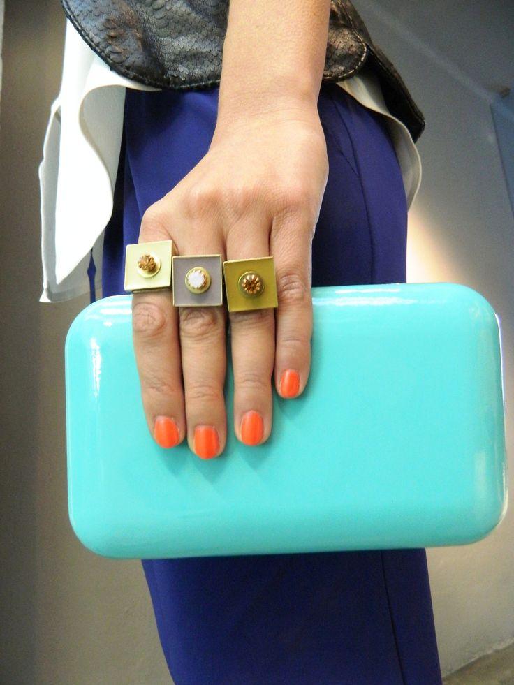Natanè Planet rings with customised enamels. #ring #anelli #anello #colors #mustard #turquoise #cream#beige#turchese #senape #crema #beige#woman #fashion #style #outfit #swarovski #jewel #bijoux #girl #natanè #
